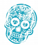 Distressed Aged Mexican Day Of The Dead SUGAR SKULL - BLUE External Vinyl Car Sticker 120x90mm
